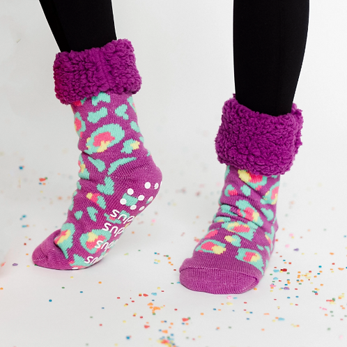 Bright Classic pudus Slipper Socks - Purple Leopard
