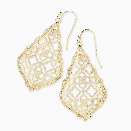 Addie Gold Drop Earrings In Gold Filigree Mix