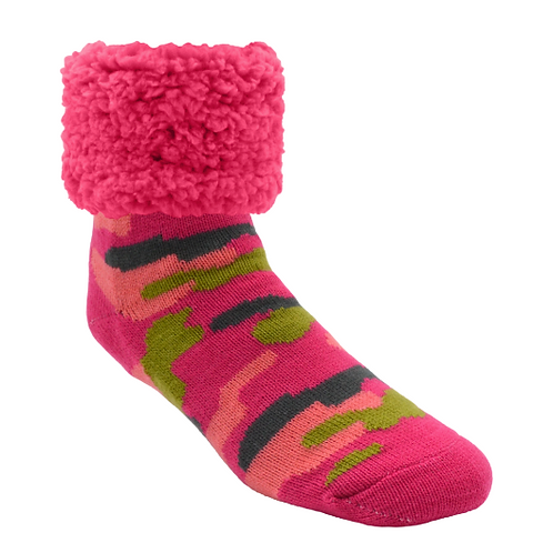 Bright Classic pudus Slipper Socks - PINK Camo