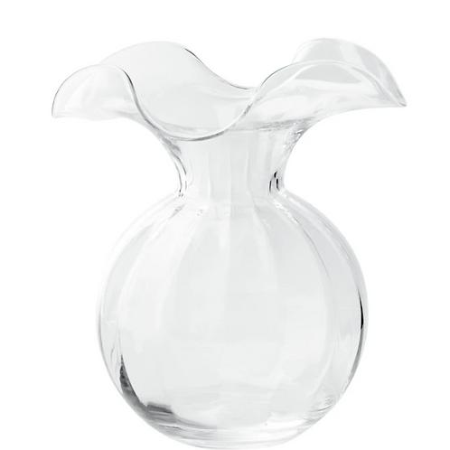 VIETRI HIBISCUS GLASS CLEAR MEDIUM FLUTED VASE