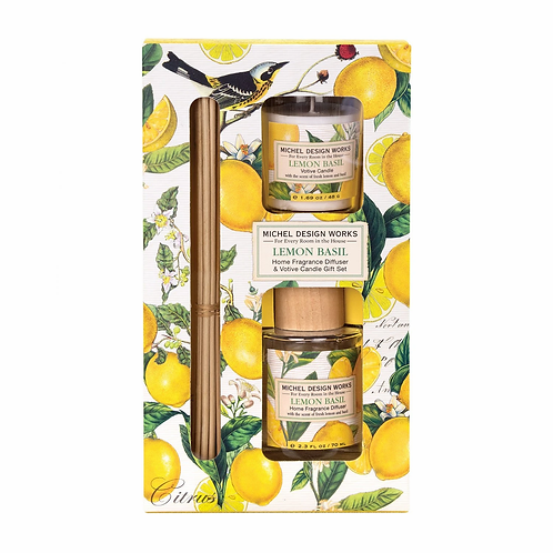 MICHEL DESIGN - Lemon Basil Diffuser and Votive Candle Set
