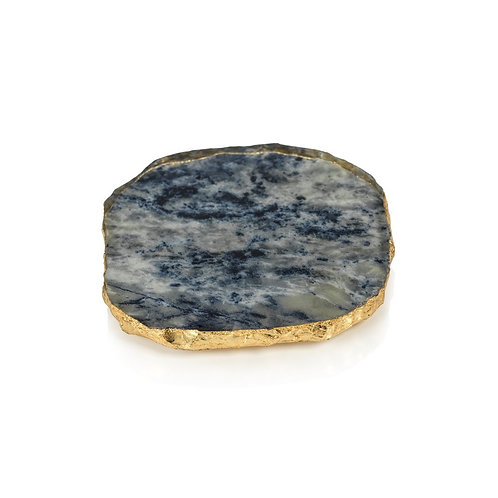 ZODAX Agate Marble Glass Coaster with Gold Rim