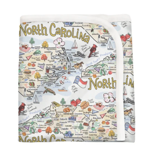 FishKiss ORGANIC COTTON - NORTH CAROLINA MAP BABY BLANKET