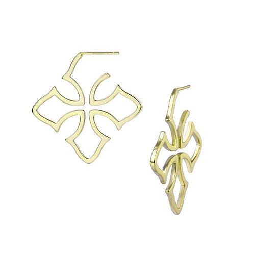 Natalie Wood Designs - Grace Cross Hoop Earrings GOLD