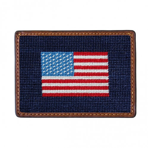 Smathers & Branson - American Flag Needlepoint Card Wallet