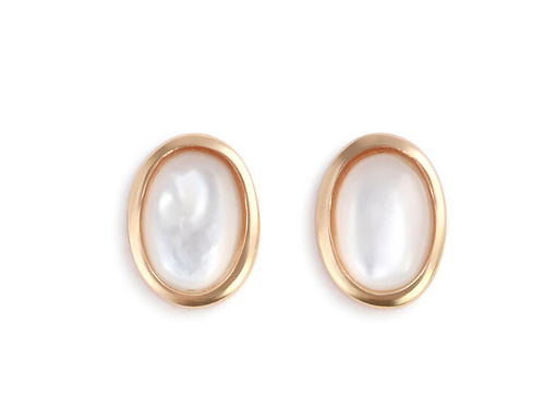 Gold Earrings with Mother of Pearl Inlay - Giving Collection