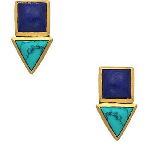 Julie Vos Gold Lapis & Turquoise Stud