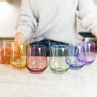 Estelle Colored Glass Stemless Wine