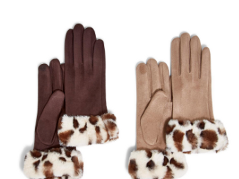 2 CHIC Micro Suede Faux Fur Leopard Trim Gloves in Camel