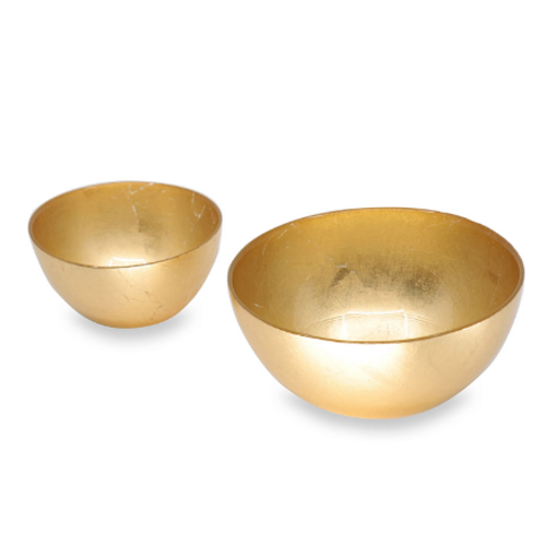 BEATRIZ BALL NEW ORLEANS Glass Gold Foil Round Bowl Set