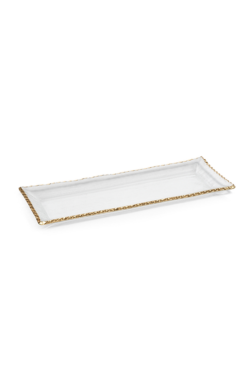 "ZODAX 19.75"" TEXTURED RETANGULAR TRAY WITH JAGGED GOLD RIM"