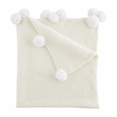 mudpie IVORY Chenille Baby Blanket