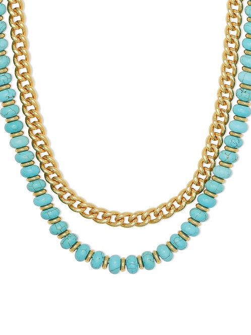 Kendra Scott Rebecca Gold Multi Strand Necklace In Variegated Turquoise Magnesit