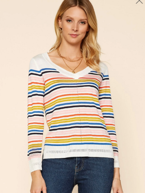 SKIES ARE BLUE MULTI COLORED STRIPED SWEATER