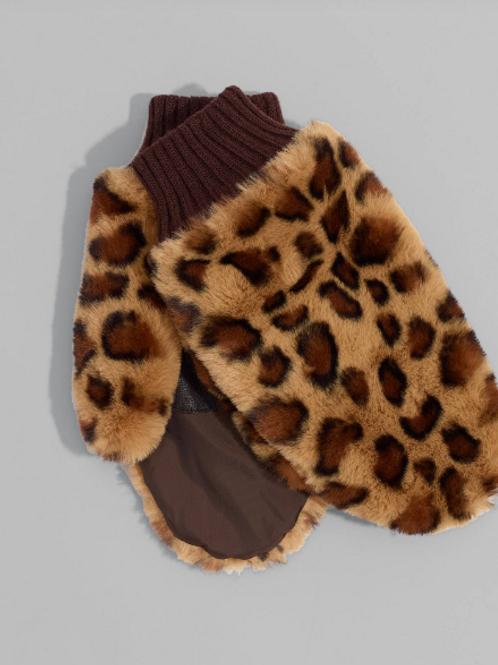 Echo NY Leopard Faux Fur Mitten in Brown