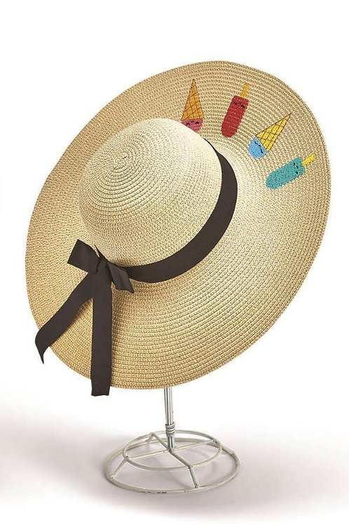 2 chic Sweet Treats Embroidered Floppy Straw Hat