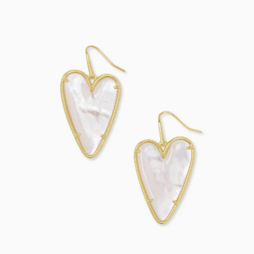 KENDRA SCOTT Ansley Heart Gold Drop Earrings In Ivory Mother-Of-Pearl