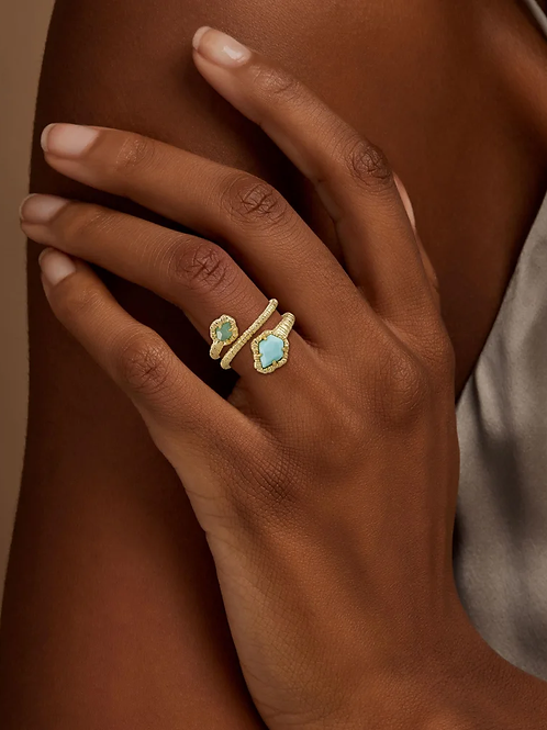 Kendra Scott Tessa Gold Wrap Ring In Light Blue Magnesite