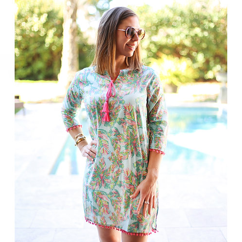 TRS - Panama Tunic Cover Up in Aruba Blue