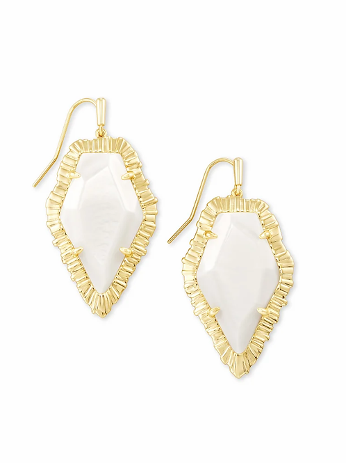 Kendra Scott Tessa Gold Drop Earrings In White Mussel