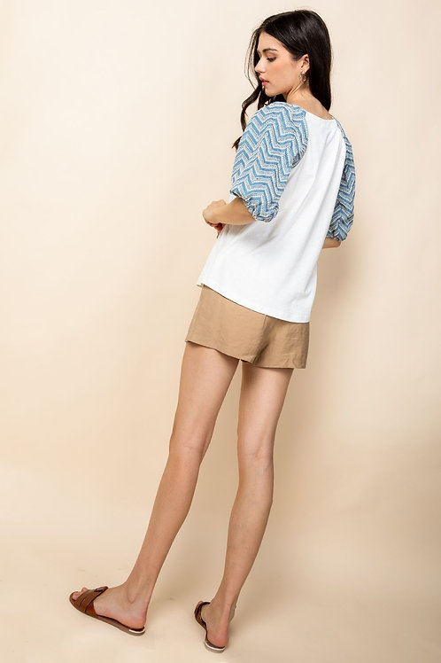 THML Eyelet Mid Puff Sleeve Top