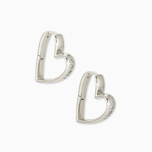 KENDRA SCOTT Ansley Heart Small Hoop Earrings In Silver