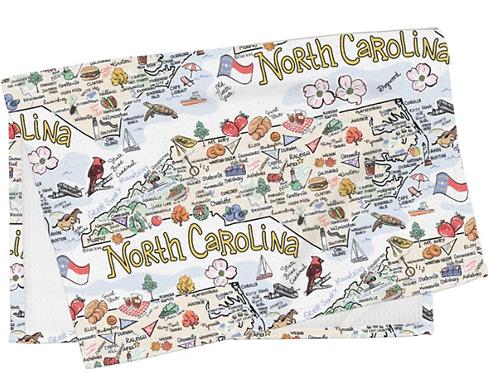 Fish Kiss NORTH CAROLINA MAP TEA TOWEL