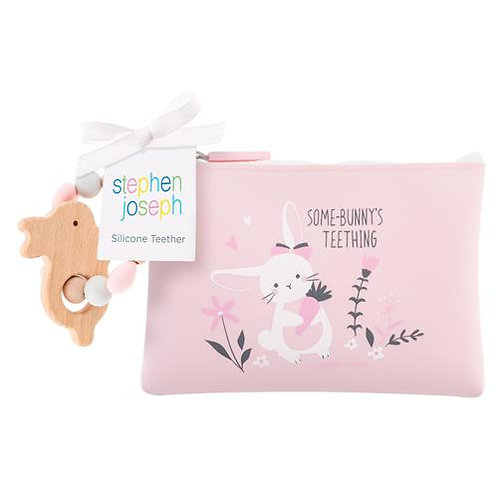 Stephen Joseph Silicone Teether w/ Pouch