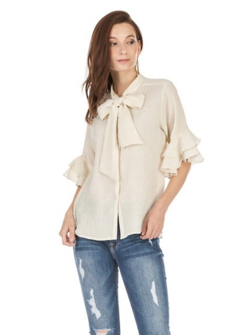 joy joy Front Tie Blouse in Cream