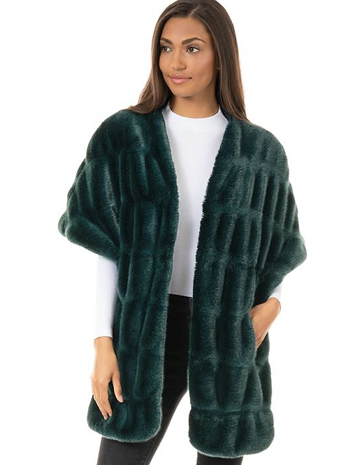 Donna Slayers Fabulous Furs- MINK COUTURE FAUX FUR POCKET SHRUG in Emerald
