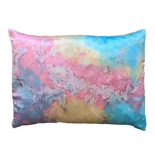 Morning Glamour RAINBOW TIEDYE Satin Pillow Case Set STANDARD