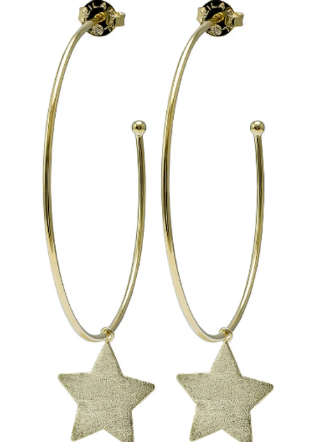 Sheila Fajl Phoenix Star Hoops in Brushed Gold