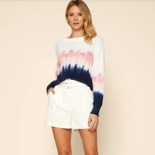 SKIES ARE BLUE Water Color Tie Dye Sweater