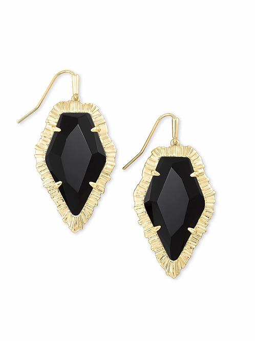 Kendra Scott Tessa Gold Drop Earrings In Black Obsidian
