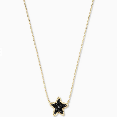 Jae Star Gold Pendant Necklace In Black Drusy
