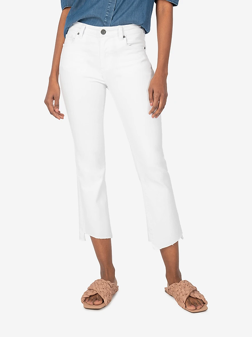 KUT KELSEY HIGH RISE ANKLE FLARE (WHITE)