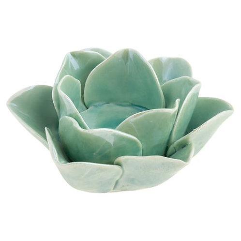 KARMA Ceramic Lotus Tea Light Holder in Sage Green