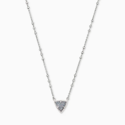 Perry Silver Pendant Necklace In Steel Gray Drusy