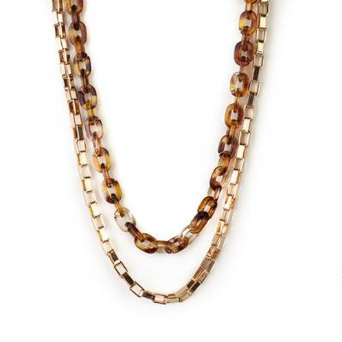 Meghan Browne  DANA Layered Necklace in TORTOISE