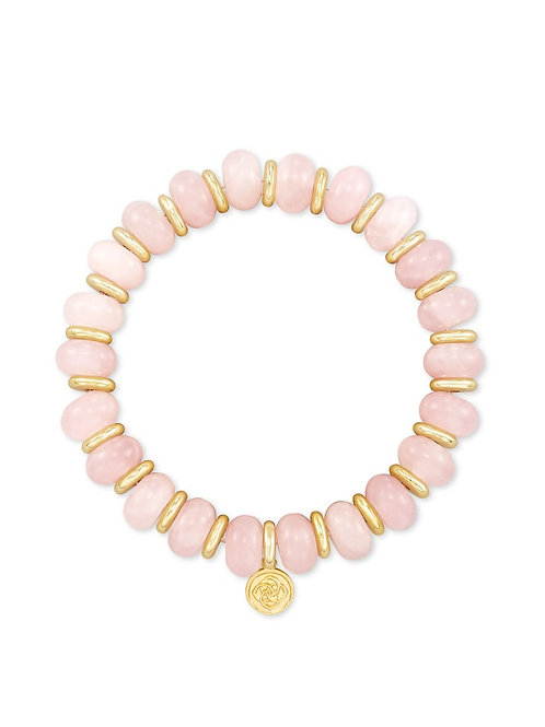 Kendra Scott Rebecca Gold Stretch Bracelet In Rose Quartz