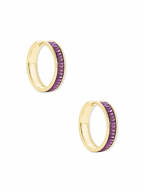 Kendra Scott Jack Gold Hoop Earrings In Purple Crystal