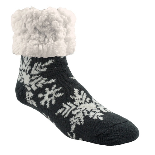 Classic pudus Slipper Socks - Snowflake Dark Grey