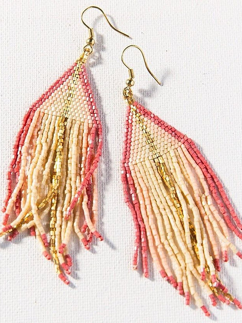 INK & ALLOY Ombre Fringe Earring TERRACOTA PINK/IVORY