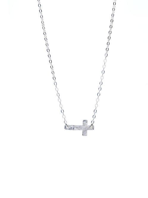 Kenda Kist SILVER Sideways Cross Necklace
