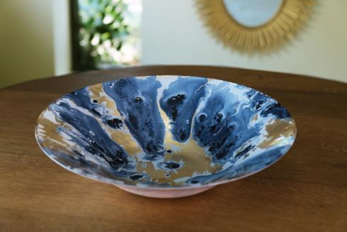 Beatriz Ball Glass Marble Blue Bowl