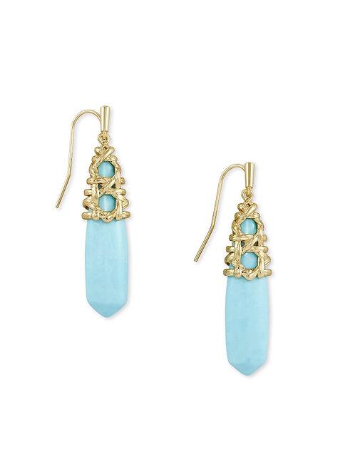 Kendra Scott Natalie Gold Drop Earrings In Light Blue Magnesite