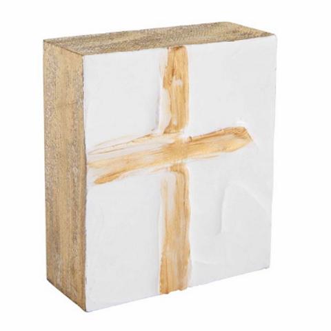 Mudpie Gold Cross Wooden Plaque