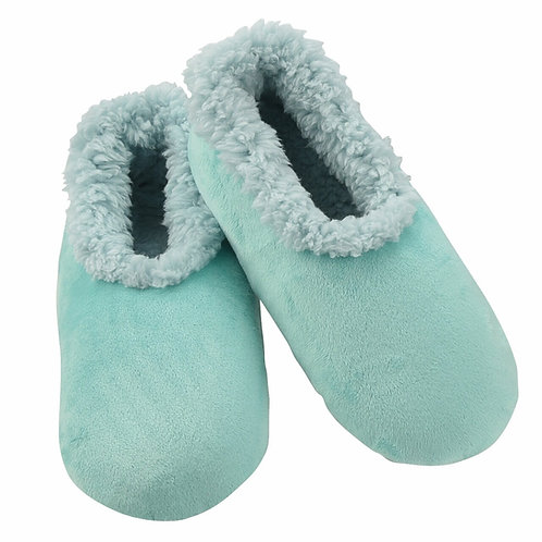 SNOOZIES Super Soft Plush Slippers in AQUA