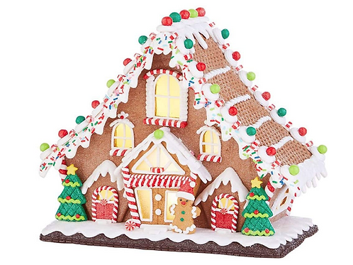 """RAZ Imports Kringle Candy Co. 11.5"""" Gingerbread Lighted Lodge"""