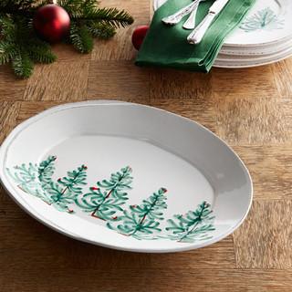 Vietri Lastra Holiday Sm Oval Platter